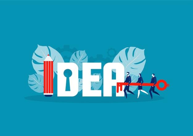 Słowo pomysł z biznesem zespołowym przyniósł klucz do odblokowania pomysłu