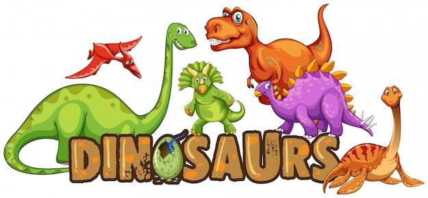 Słowo projekt dla dinozaurów