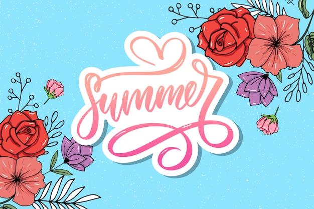 Słowo sprzedaż. litery wykonane z kwiatów i liści letnia wyprzedaż wakacyjna ulotka banner plakat letnia wyprzedaż