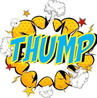 Słowo thump na chmurze komiksu