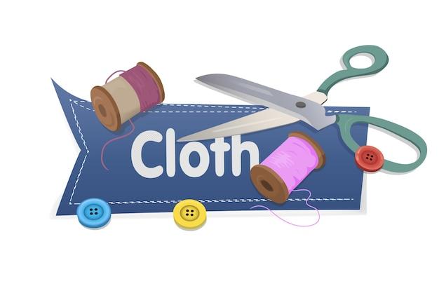 Słowo tkanina z nożycami i nicią i guzikami na bielu