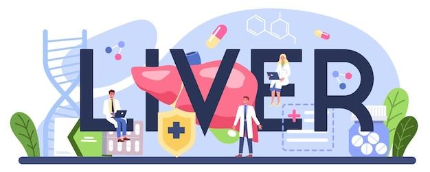 Słowo typograficzne wątroby. lekarz wykonuje badanie usg wątroby. idea leczenia, terapii hepatologicznej.