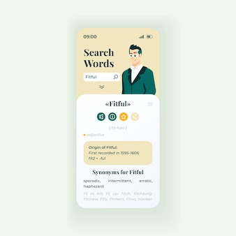 Słowo wyszukiwania online szablon wektor interfejsu smartfona. biały układ strony aplikacji mobilnej. ekran słownika internetowego. płaski interfejs użytkownika do aplikacji. znajomość języka. wyświetlacz telefonu