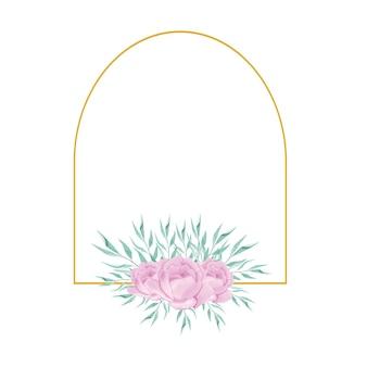 Ślub akwarela kwiatowy kwiat złota ramka