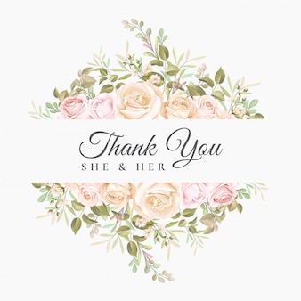 Ślub dziękuję karty z pięknym kwiatowy szablon