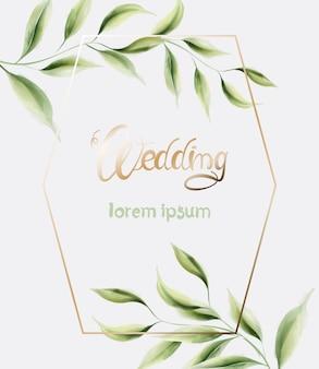 Ślub kartkę z życzeniami z ramą i liści