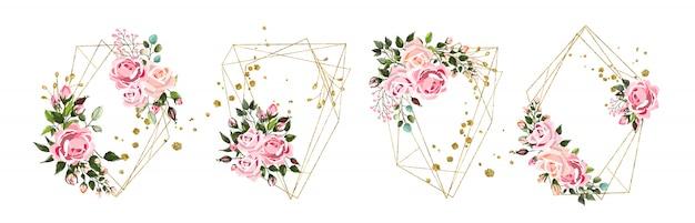 Ślub kwiatowy złote geometryczne trójkątne ramki z różowe kwiaty róż i zielonych liści na białym tle