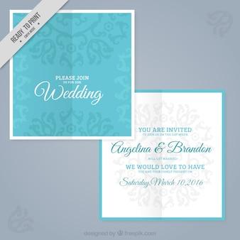 Ślub niebieski kwadrat zaproszenie