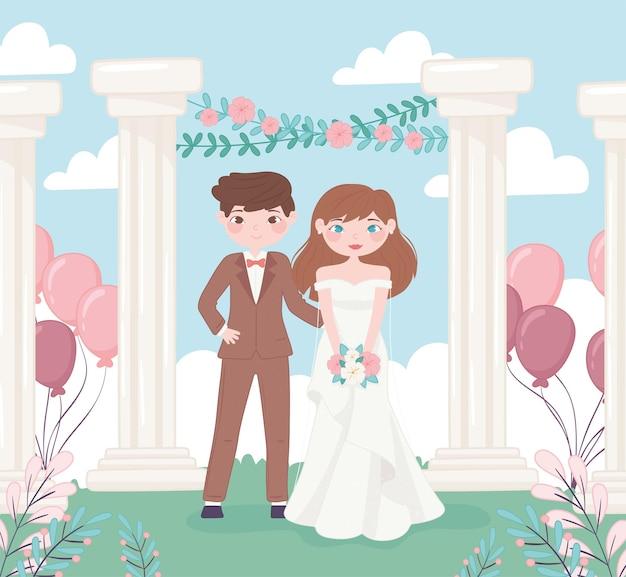 Ślub Panny Młodej I Pana Młodego Premium Wektorów