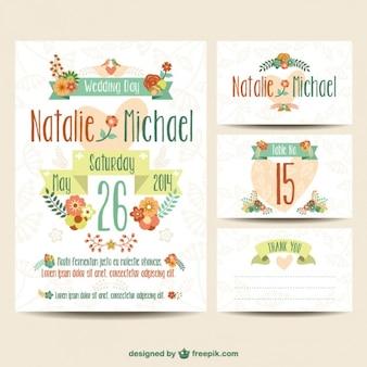 Ślub printables kwiatowy zestaw