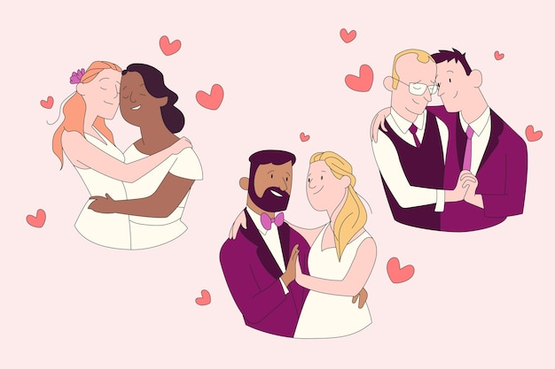 Ślub razem para heteroseksualna i homoseksualna