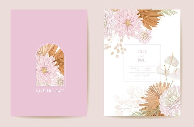 Ślub suszony księżycowy, dalia, trawa pampasowa kwiatowy zestaw zapisz datę. wektor egzotyczny suchy kwiat, liście palmowe boho zaproszenie. rama szablonu akwarela, okładka liści, nowoczesny plakat, modny design