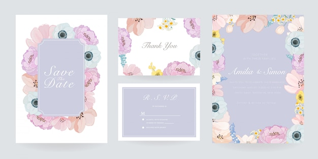 Ślub szablon zaproszenia karty zestaw