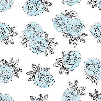 Ślub urodziny kwiatowy wzór bez szwu niebieski wzór róż