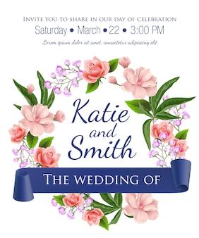 Ślub zapisać szablon daty z wieniec kwiatowy, róże, kwiaty i fioletowe wstążki.