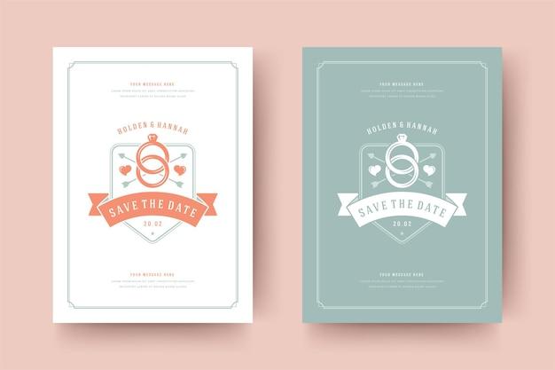 Ślub zapisz ilustrację karty zaproszenie daty