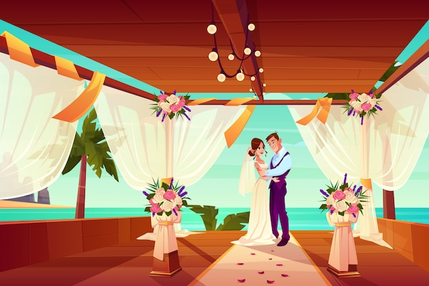 Ślubna ceremonia w egzotycznym kraju lub tropikalnej plaży kreskówki wektoru pojęciu.