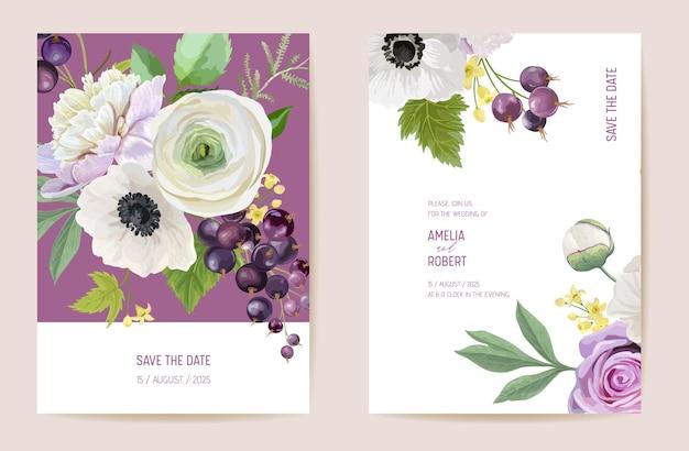 Ślubna czarna porzeczka kwiatowy wektor karty, owoce jagodowe, kwiaty, liście zaproszenie. akwarela zawilec, piwonia, kwiat róży szablon ramki. bukiet botaniczny save the date luksusowa okładka, nowoczesny plakat