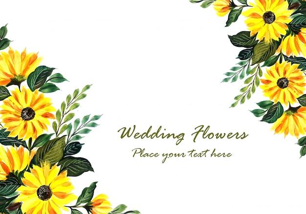 Ślubna dekoracyjna żółta kwiecista rama