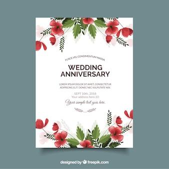 Ślubna karta jubileuszowa z kwiatami