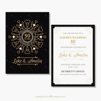 Ślubna karta jubileuszowa ze złotymi ornamentami
