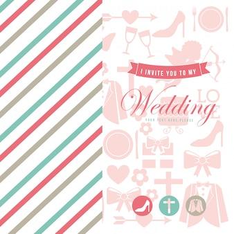 Ślubna karta nad białą tło wektoru ilustracją