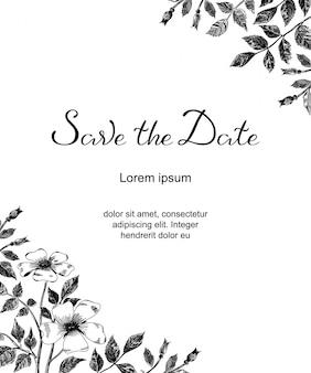Ślubna karta z nakreślenie kwiatami