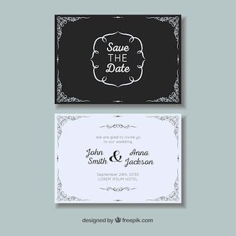 Ślubna karta z ornamentami