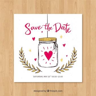 Ślubna karta z ręka rysującym słojem i sercami