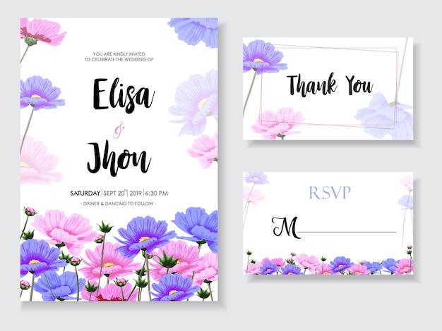 Ślubna karta z różowymi kwiatami ustawiającymi