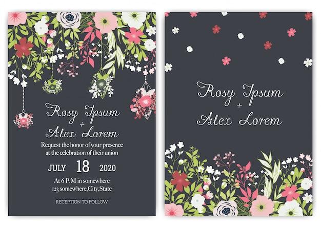 Ślubna karta zaproszenie apartament z kwiatem stokrotka szablony.