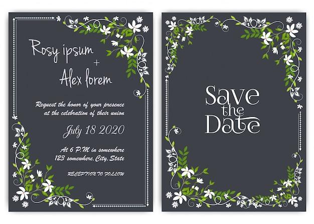 Ślubna karta zaproszenie kwiecista ręka rysująca rama.