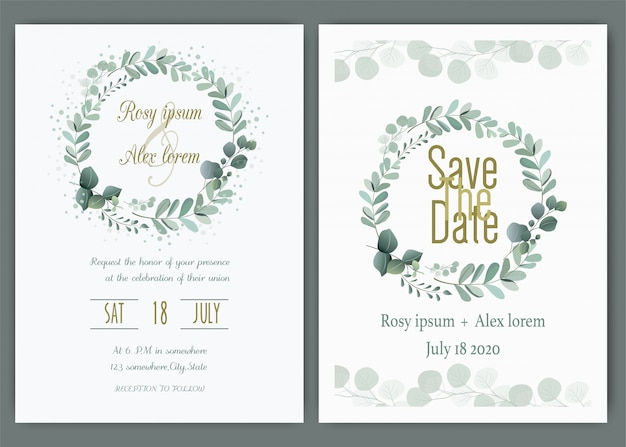 Ślubna karta zaproszenie kwiecista ręka rysująca rama