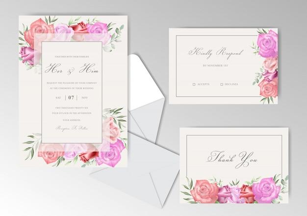 Ślubna kolekcja stacjonarnych szablonów z różami akwareli i zieleni