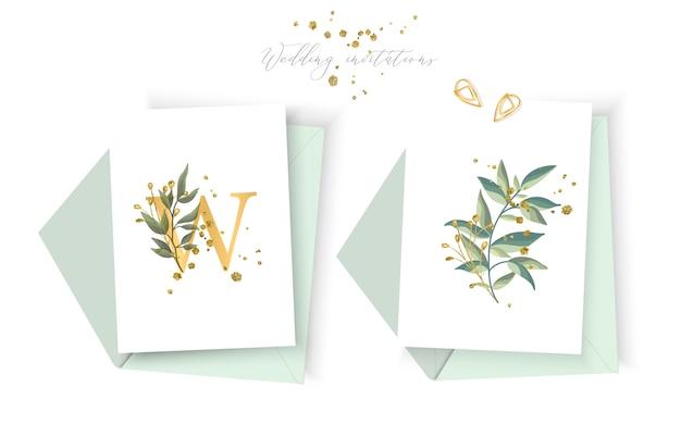 Ślubna kwiecista złota zaproszenie karty koperta save daktylowego minimalizmu projekt z zielonymi tropikalnymi liśćmi ziele i złocistymi splatters. botaniczny elegancki ozdobny wektor szablon stylu przypominającym akwarele