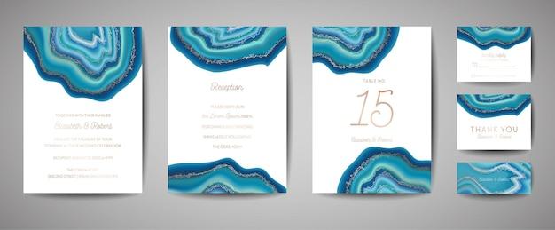 Ślubna moda geoda lub szablon marmuru, projekt artystyczny okładki, kolorowe tekstury, realistyczne tła. modny wzór, geometryczna broszura, zapisz karty daty, plakat graficzny. ilustracja wektorowa.