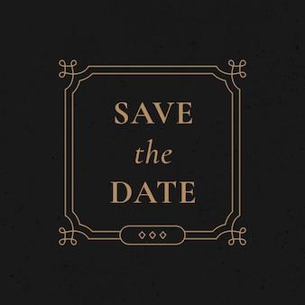 Ślubna odznaka wektor złoto vintage ozdobny styl zapisać datę
