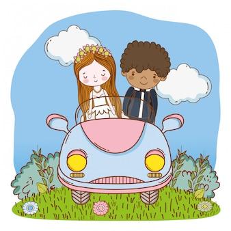 Ślubna para na samochodowej ślicznej kreskówce