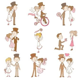 Ślubna Para Zakochanych, Postacie W Stylu Vintage Premium Wektorów