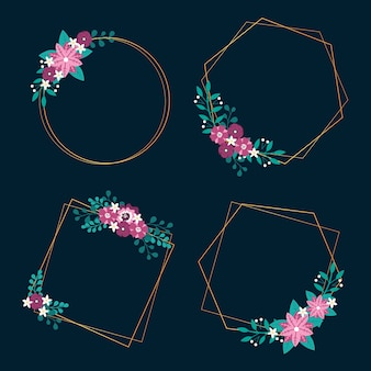 Ślubna rama z wiosennymi kwiatami i liśćmi
