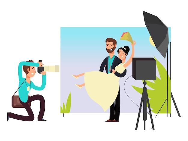 Ślubna sesja zdjęciowa w studio z nowożeńcami