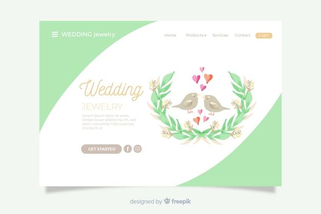Ślubna strona docelowa śliczne ptaki