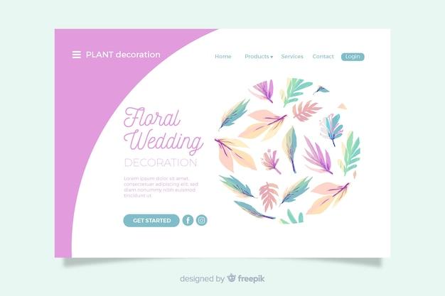 Ślubna strona docelowa z kwiatowymi ornamentami