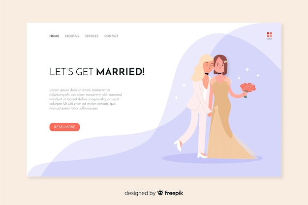 Ślubna strona docelowa z romantyczną parą