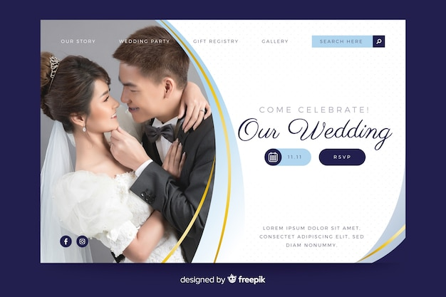 Ślubna strona docelowa z szablonem fotograficznym