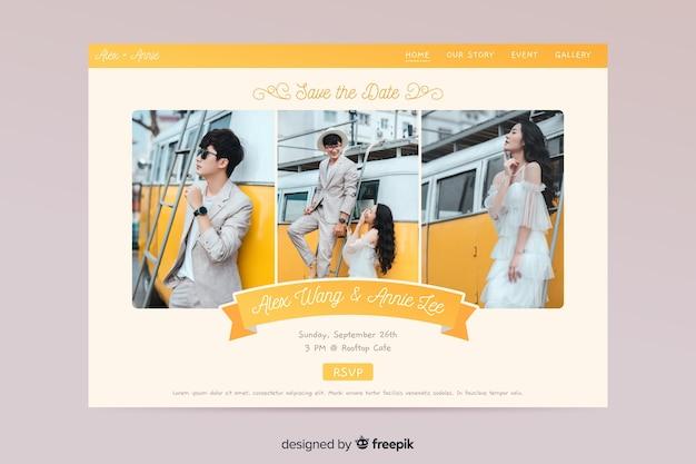 Ślubna strona docelowa ze zdjęciem