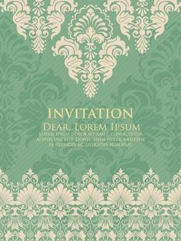 Ślubna zaproszenie i zawiadomienie karta z rocznika tła grafiką