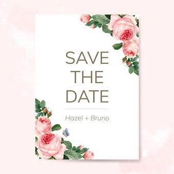 Ślubna zaproszenie karta dekorująca z różami wektorowymi