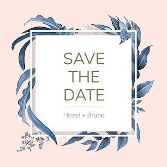 Ślubna zaproszenie karta z błękitnym liścia projekta wektorem