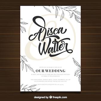 Ślubna zaproszenie karta z roślinnością w ręka rysującym stylu